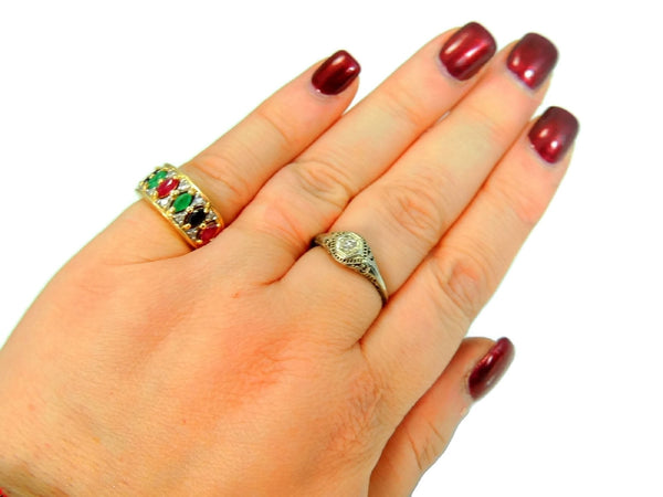 14k Gemstone Ring Anniversary Band Emerald Ruby Sapphire Diamonds Gold - Premier Estate Gallery  - 5