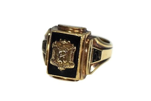 Rome Free Academy RFA Class Ring 10k Gold Onyx 1954 Dieges and Clust - Premier Estate Gallery
