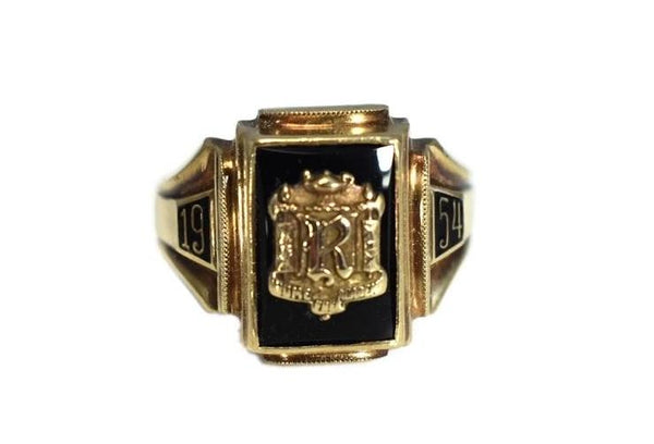 Rome Free Academy RFA Class Ring 10k Gold Onyx 1954 Dieges and Clust - Premier Estate Gallery 2