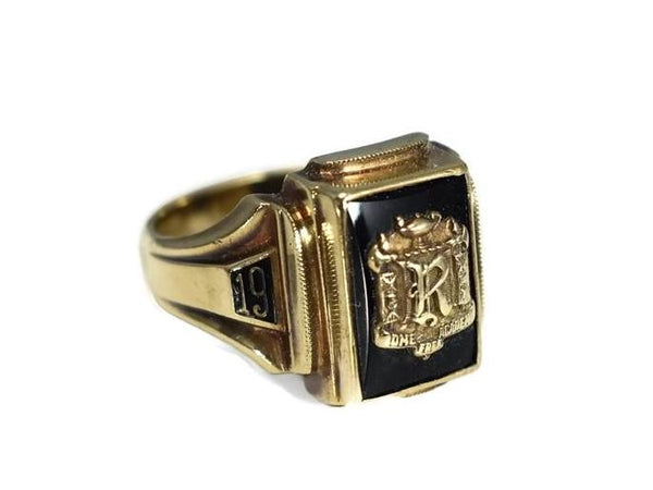 Rome Free Academy RFA Class Ring 10k Gold Onyx 1954 Dieges and Clust - Premier Estate Gallery 3