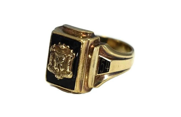 Rome Free Academy RFA Class Ring 10k Gold Onyx 1954 Dieges and Clust - Premier Estate Gallery 4