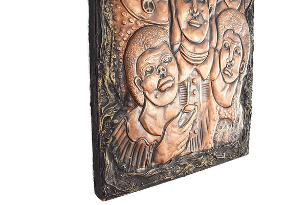 Black American Art Crying Ghetto by Greg Ridley 1973 Copper Repousse