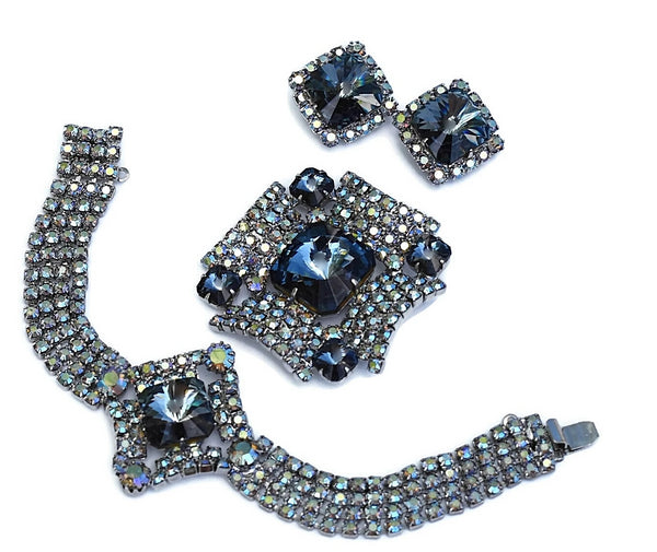 Vintage AB Rhinestone Jewelry Set Big Blue Rivoli Stones - Premier Estate Gallery