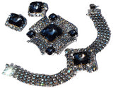 Vintage AB Rhinestone Jewelry Set Big Blue Rivoli Stones - Premier Estate Gallery 2