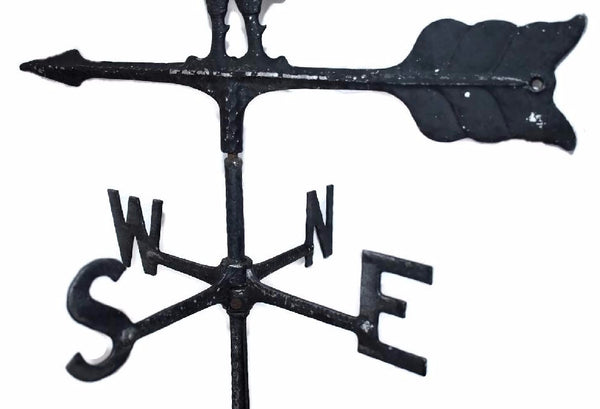 Wrought Iron Vintage Rooster Weather Vane Americana Outdoor Decor