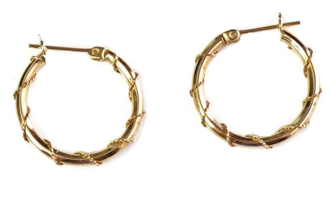 14k Gold Wire Wrapped Hoop Earrings - Premier Estate Gallery