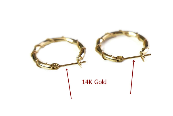 14k Gold Wire Wrapped Hoop Earrings