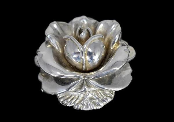 Vintage Silver Rose Brooch Large Articulated Petals - Premier Estate Gallery 2