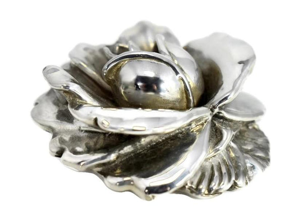 Vintage Silver Rose Brooch Large Articulated Petals
