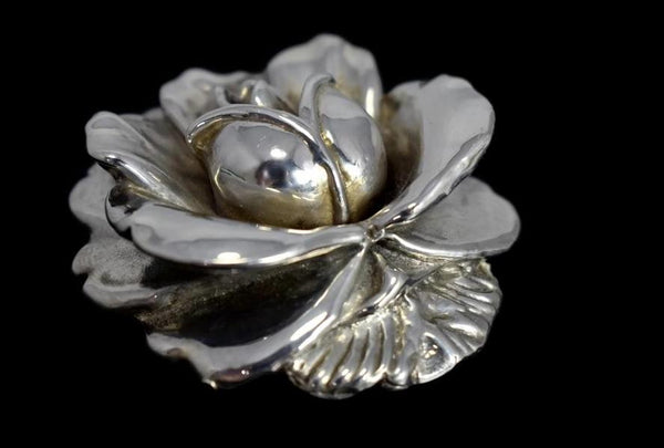 Vintage Silver Rose Brooch Large Articulated Petals - Premier Estate Gallery 3