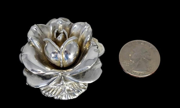 Vintage Silver Rose Brooch Large Articulated Petals - Premier Estate Gallery 4