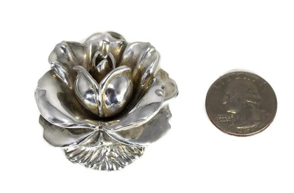 Vintage Silver Rose Brooch Large Articulated Petals - Premier Estate Gallery 5