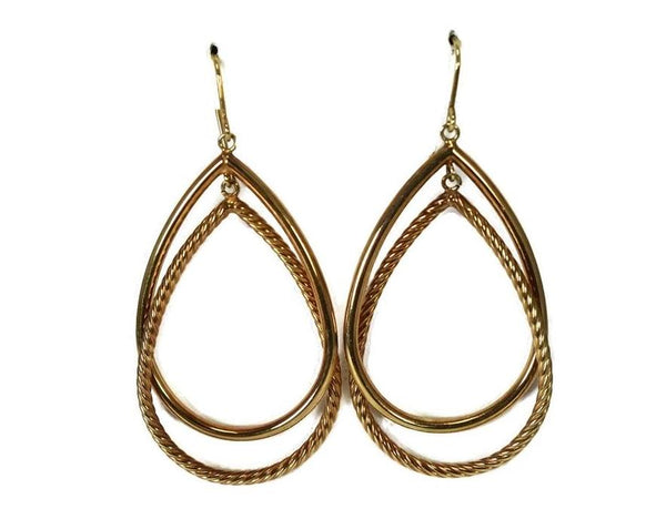 14k Gold Double Teardrop Dangle Earrings Milor Italy - Premier Estate Gallery 1
