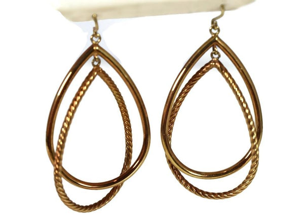 14k Gold Double Teardrop Dangle Earrings Milor Italy - Premier Estate Gallery 2