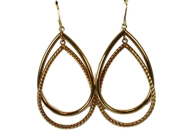 14k Gold Double Teardrop Dangle Earrings Milor Italy - Premier Estate Gallery 3
