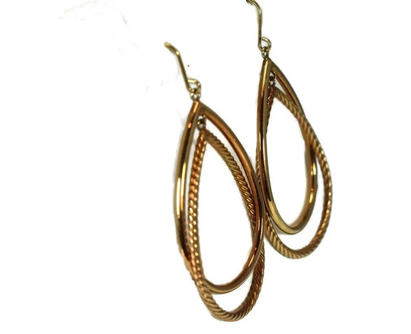 14k Gold Double Teardrop Dangle Earrings Milor Italy - Premier Estate Gallery 4