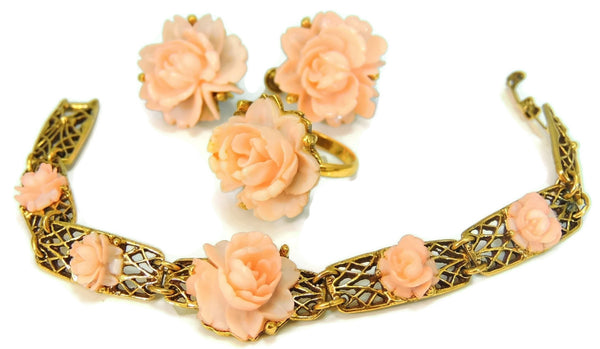 Vintage Pink Roses Carved Celluloid Jewelry Set c1950s Victorian Style Romantic