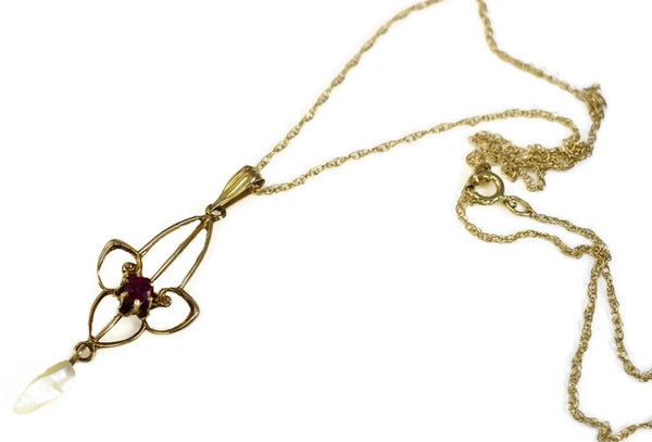 Antique 10k Gold Edwardian Lavaliere Necklace MOP Simulated Ruby - Premier Estate Gallery 1
