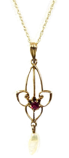 Antique 10k Gold Edwardian Lavaliere Necklace MOP Simulated Ruby - Premier Estate Gallery