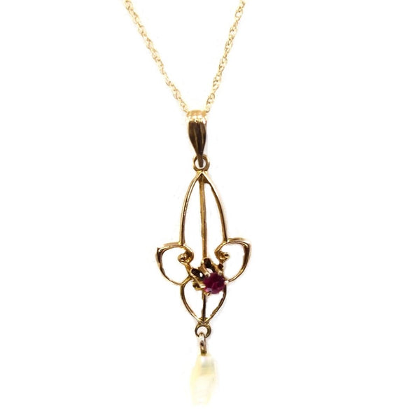 Antique 10k Gold Edwardian Lavaliere Necklace MOP Simulated Ruby