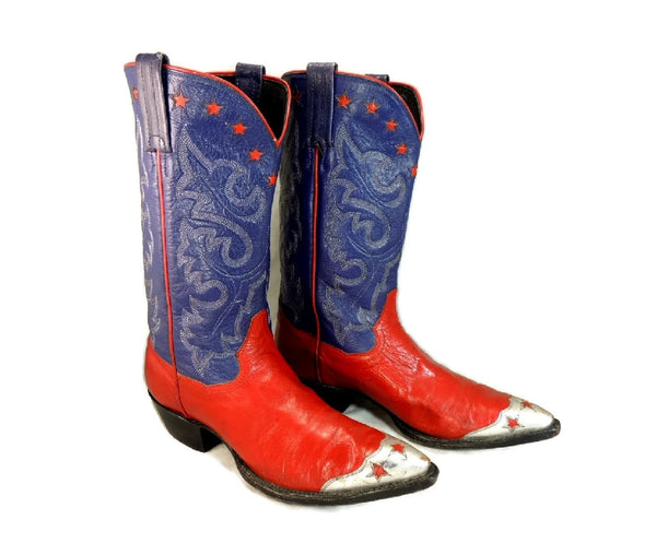 Vintage Americana Cowboy Boots Womens Silver Stars