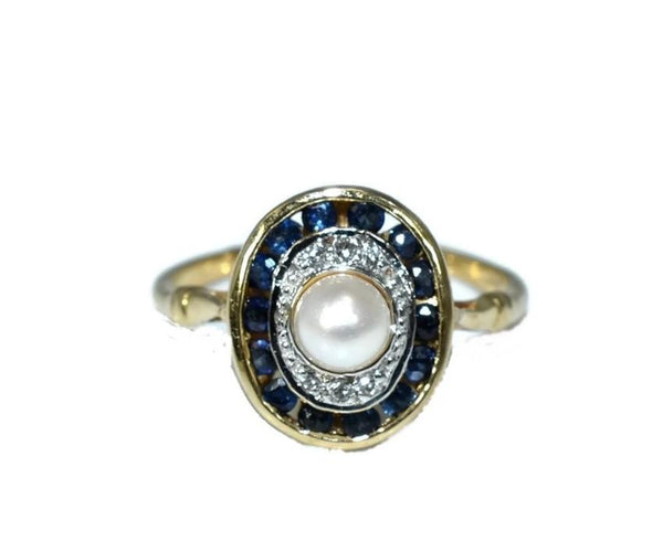 14k Sapphire Pearl Ring with Diamond Accents Art Deco Style - Premier Estate Gallery