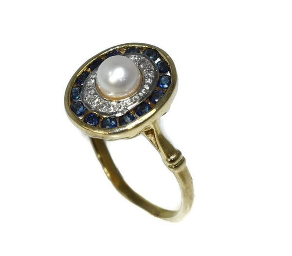 14k Sapphire Pearl Ring with Diamond Accents Art Deco Style - Premier Estate Gallery 2