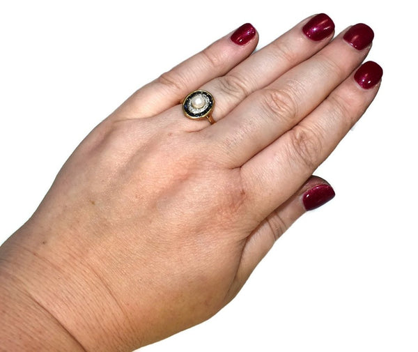 14k Sapphire Pearl Halo Ring with Diamond Accents Art Deco Style Plumb Gold