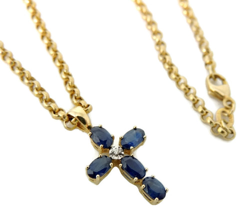 14k Sapphire Cross Necklace Vintage Gold Pendant and Chain
