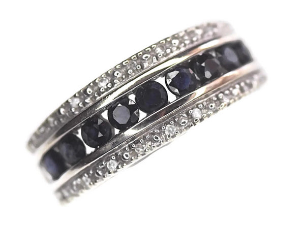 14k White Gold Sapphire Diamond Band Ring 2