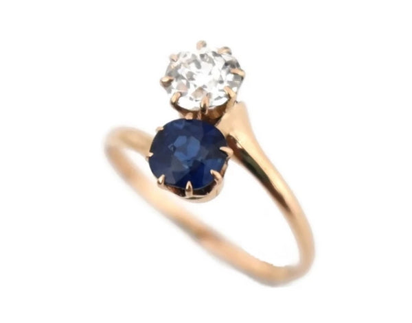 14k Rose Gold Sapphire Diamond Custom Made Ring Vintage - Premier Estate Gallery 3