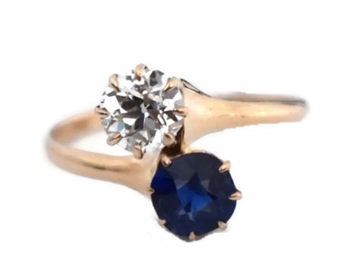 14k Rose Gold Sapphire Diamond Custom Made Ring Vintage - Premier Estate Gallery