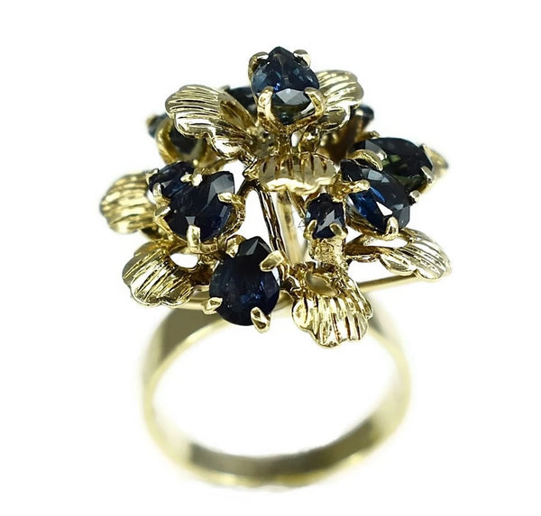 12k Sapphire Cocktail Ring Flower Setting Vintage High Profile  - Premier Estate Gallery