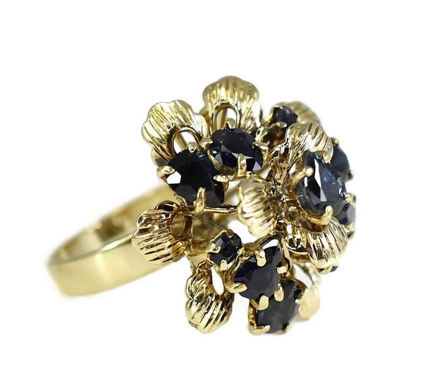 12k Sapphire Cocktail Ring Flower Setting Vintage High Profile  - Premier Estate Gallery 3