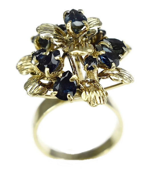 12k Sapphire Cocktail Ring Flower Setting Vintage High Profile  - Premier Estate Gallery 4