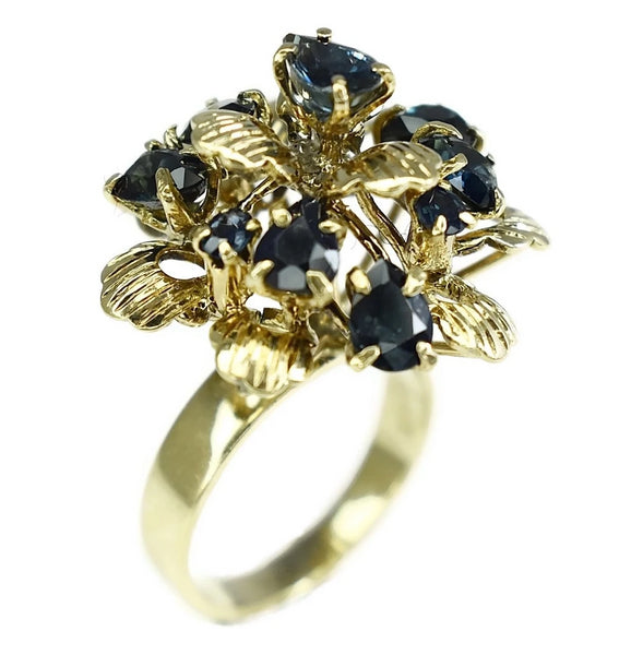 12k Sapphire Cocktail Ring Flower Setting Vintage High Profile  - Premier Estate Gallery 2