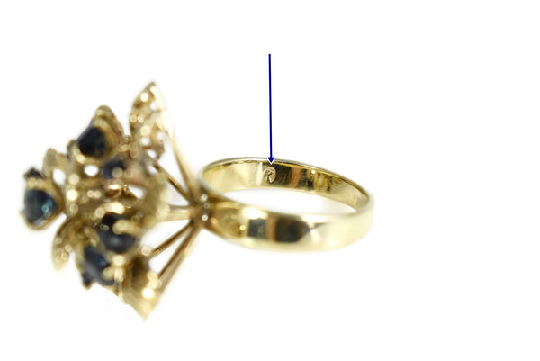 12k Sapphire Cocktail Ring Flower Setting Vintage High Profile