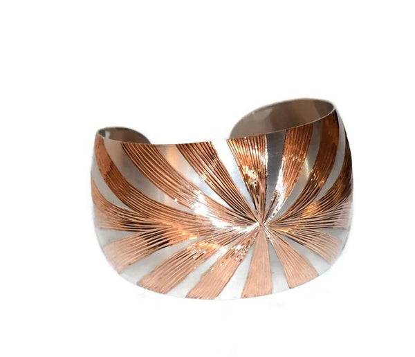 Silver Cuff Bracelet Rose Gold Sunburst Design Vintage Sterling 36.3g - Premier Estate Gallery