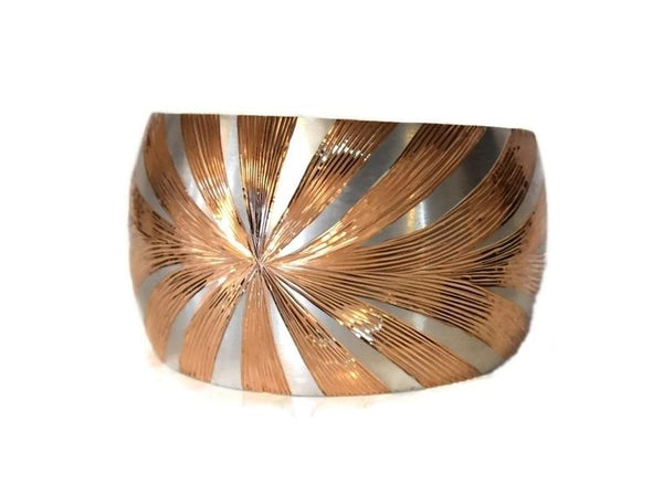 Silver Cuff Bracelet Rose Gold Sunburst Design Vintage Sterling 36.3g - Premier Estate Gallery 2