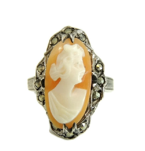 Antique Art Nouveau Cameo Ring Sterling Silver with Marcasite Accents - Premier Estate Gallery  - 1