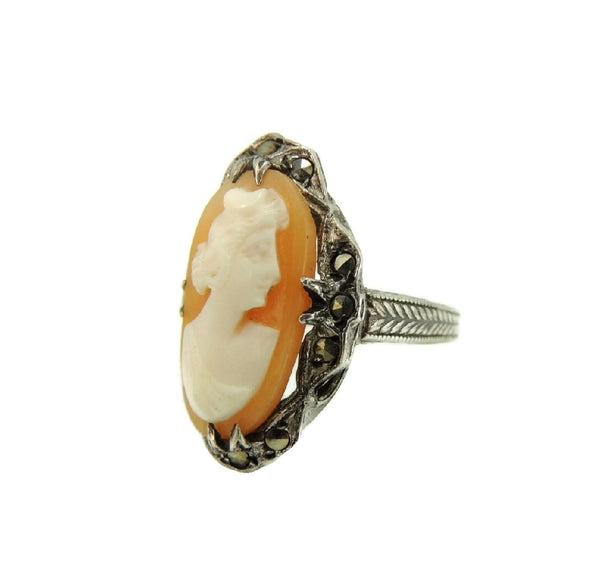 Antique Art Nouveau Cameo Ring Sterling Silver with Marcasite Accents - Premier Estate Gallery  - 2