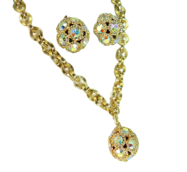 Vintage AB Rhinestone Jewelry Set Necklace Earrings Big Bling - Premier Estate Gallery  - 2