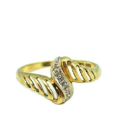 Vintage 10k Gold Ring Open Work Design with Diamond Accent