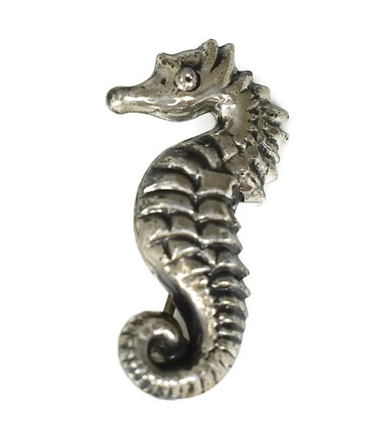 Vintage Sterling Silver Seahorse Pin Small Coastal Jewelry