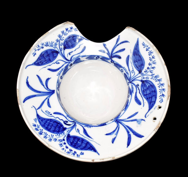 Antique English Delft Shaving Bowl Tin Glaze Blue and White Stoneware - Premier Estate Gallery