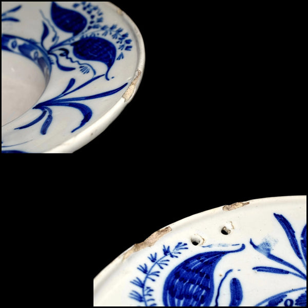 Antique English Delft Shaving Bowl Tin Glaze Blue and White Stoneware 18th Century