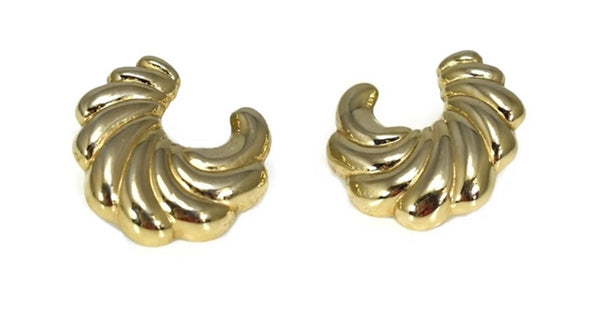 14k Gold Shell Shape Stud Earrings Classic Style - Premier Estate Gallery 2