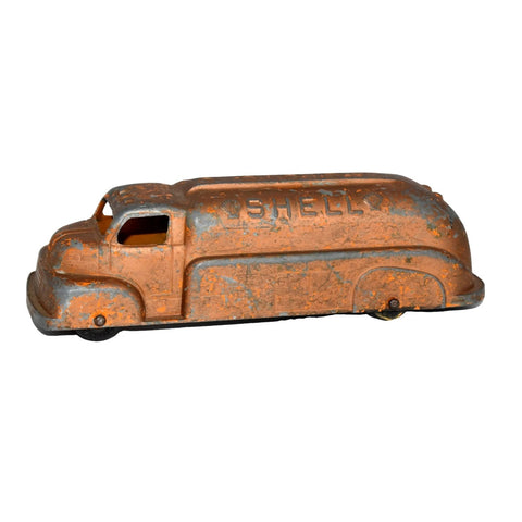 Orange Shell Oil Gas Diecast Tanker Truck Tootsie Toy 1950s - Premier Estate Gallery 2