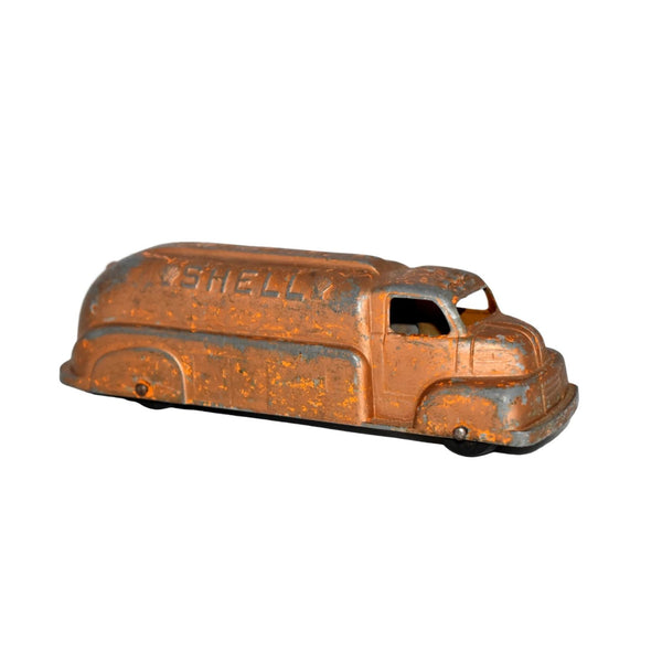 Orange Shell Oil Gas Diecast Tanker Truck Tootsie Toy 1950s - Premier Estate Gallery