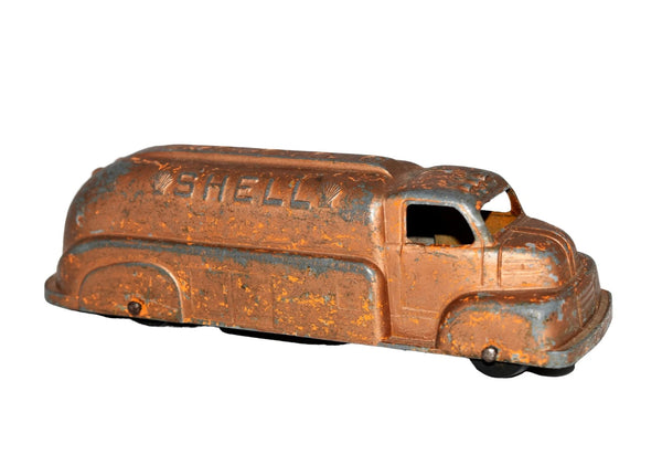 Orange Shell Oil Gas Diecast Tanker Truck Tootsie Toy 1950s - Premier Estate Gallery 1